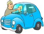 Royalty-free people clipart picture of a caucasian man in a green hat and long sleeved shirt, leaning over the hood of his cute blue compact car to clean the bug guts off of his dirty windshield while stopped at a gas station.